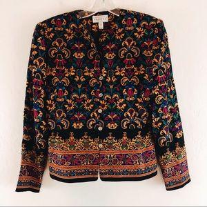 Adrianna Papell Silk Blazer Jacket Floral Dressy 4